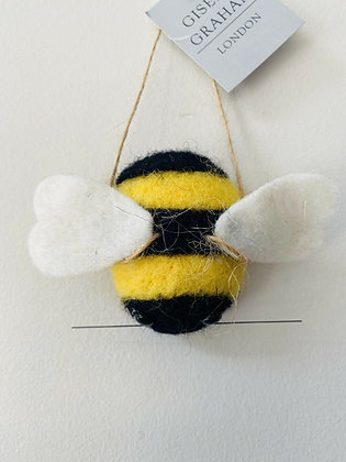 Wool Bumble Bee Hanging Decoration - Gisela Graham