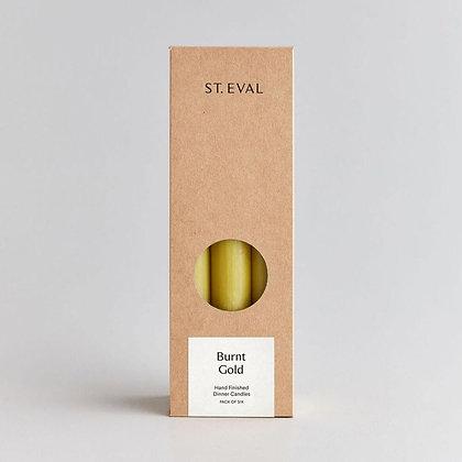 """St Eval Unscented """"Burnt Gold"""" Dinner Candles - Pack 6"""