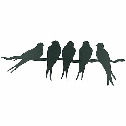 Black Metal Wall Art Picture - Swallows Birds on Branch - 43cm