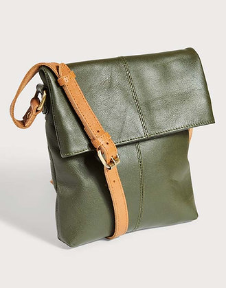 Dark Green Leather Fold Over Cross Body Bag - Quintessential Cambridge