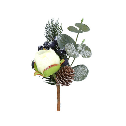 Frosted Eucalyptus Fir Cone & Peony Flower Pick - Gisela Graham