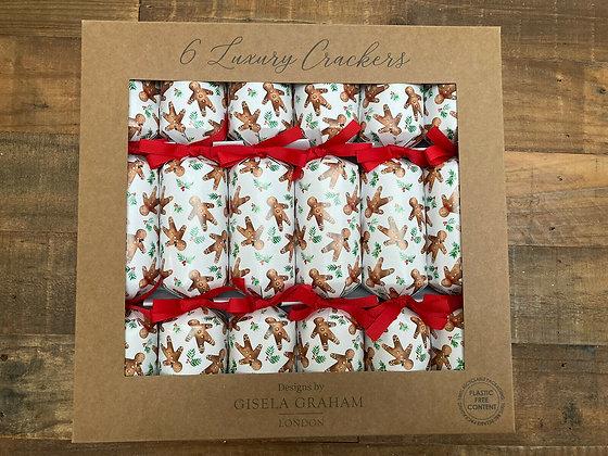 Gingerbread Man Luxury Christmas Crackers - Box of 6 - Gisela Graham