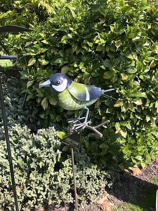 Greenfinch Bird 100cm Sculpture Metal Garden Stake