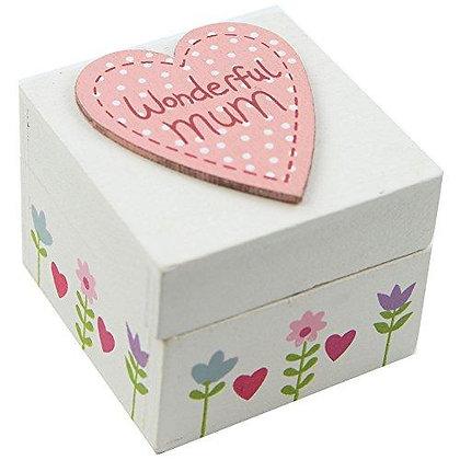 Wonderful / Lovely Mum Mini Wooden Trinket Box - Gisela Graham
