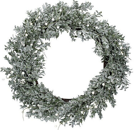 Christmas Silver Glitter Leaf Wreath With Pearl Berries - Gisela Graham