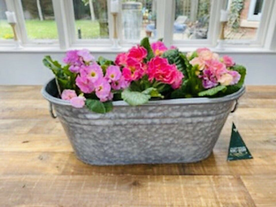 Galvanised Zinc  Oval Planter  Trough With Handles