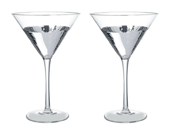 Set Of 2 Glass & Silver Cocktail Martini Glasses - Parlane