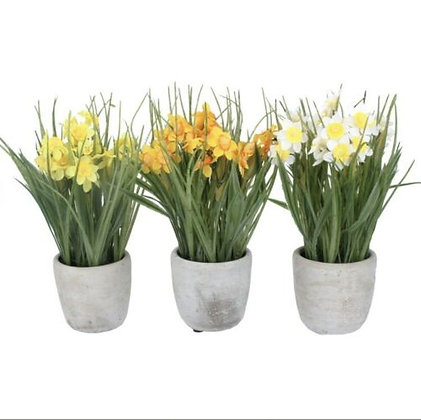 Faux Daffodils in concrete pot by Gisela Graham
