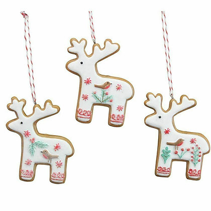 Nordic 'Iced' Gingerbread Reindeer Christmas Decoration - Gisela Graham