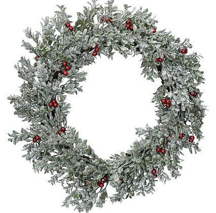 Christmas Silver Glitter Leaf Wreath With Red Berries - Gisela Graham