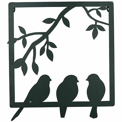 Black Metal Wall Art Picture - Swallows Bird - 42cm