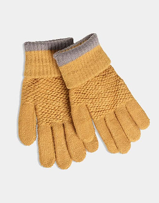 Soft Moss Stitch Knitted Gloves - Mustard Yellow - Quintessential Cambridge