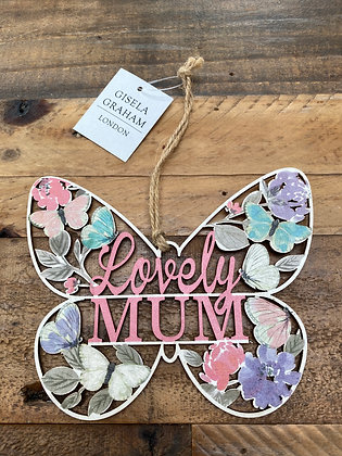 Lovely Mum / Best Mum Floral Fretwork Butterfly Hanging Plaque