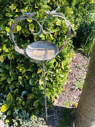 Green Gold Aged Metal Heart Bird & Vine Design Bird Feeder on a Stake 120 x 27cm