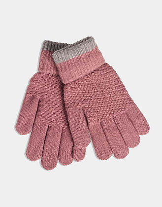 Soft Moss Stitch Knitted Gloves - Dusky Mauve - Quintessential Cambridge