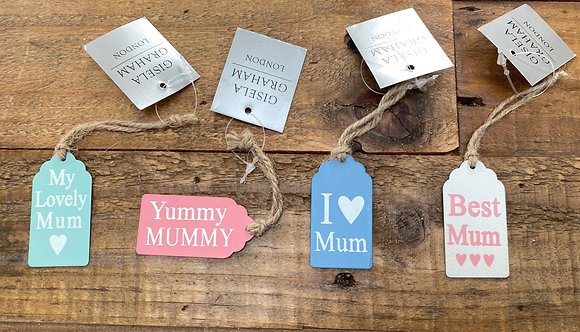 Pastel Coloured Metal Gift Tags - Mum/ Mummy