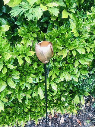 Copper Metallic Tulip Flower Stake - Decorative Garden Ornament