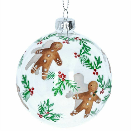 Clear Gingerbread Man Glass Bauble - Gisela Graham