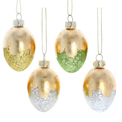 Set of Four Brushed Gold Hanging Easter Eggs -  Gisela Graham