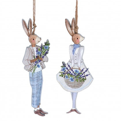 Boy & Girl Dressed Bunny Wooden Decorations - Gisela Graham