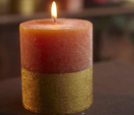 Orange and Cinnamon Scented Gold Dipped Pillar -St Eval