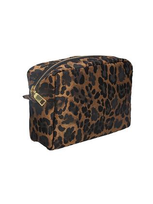 Leopard Print Copper Jacquard Cosmetic Bag - Gisela Graham