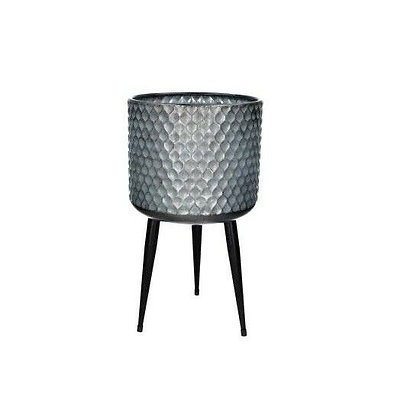 Galvanised Metal Pot Cover with Legs - Medium - Gisela Graham