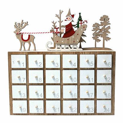 Wooden Santa's Sleigh & Reindeer Advent Calendar - Gisela Graham