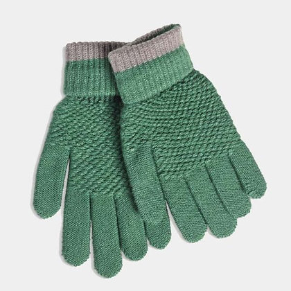 Soft Moss Stitch Knitted Gloves - Green - Quintessential Cambri