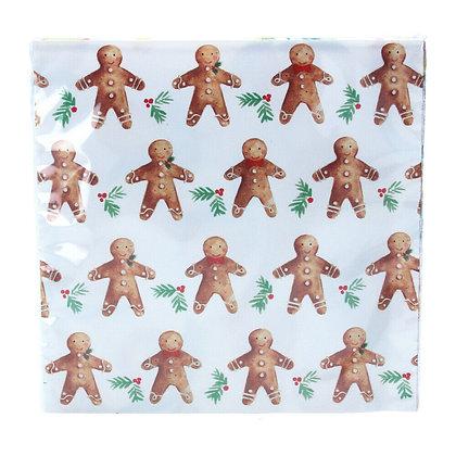 Gingerbread Man Paper Napkins - Pack of 20 - Gisela Graham
