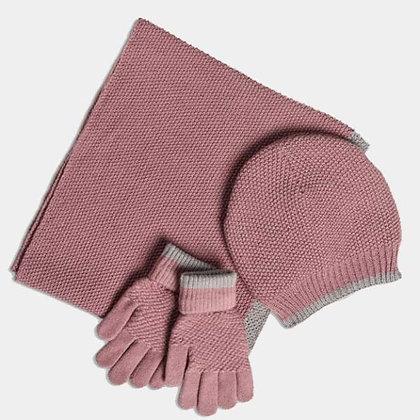 Soft Moss Stitch Knitted Hat - Dusky Mauve - Quintessential Cambridge