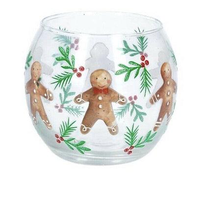 Clear Gingerbread Man Glass Tea light holder - Gisela Graham