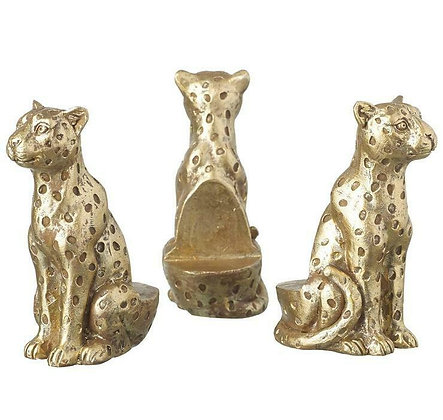 Trio of Gold Leopard Pot Risers - Parlane International