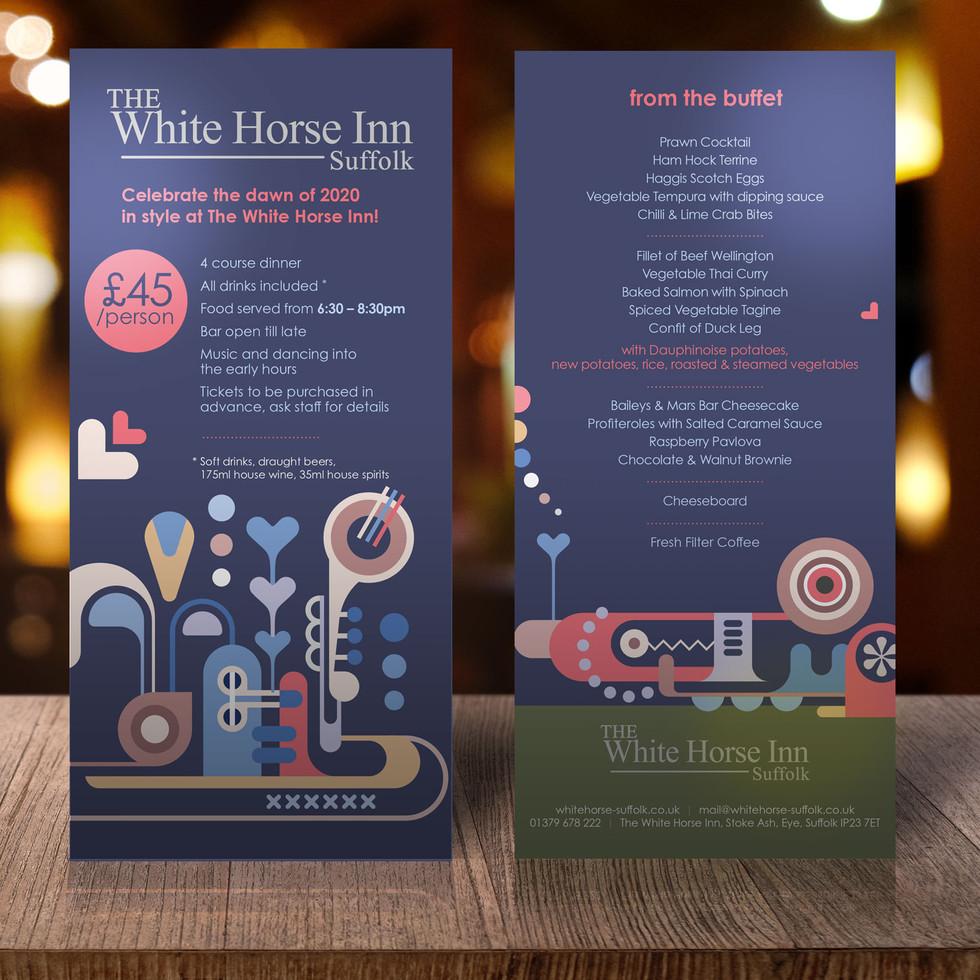 White Horse Inn Suffolk - New Years Table Talker