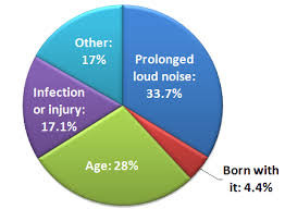 Percentage of types of hearing loss