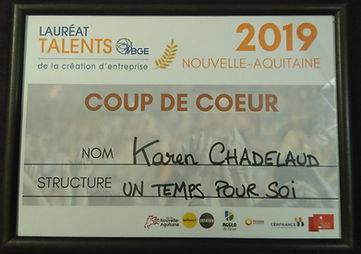 Récompense Concours Talents Nouvelle Aquitaine 2019