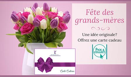 Faites plaisir à votre grand-mère! Offrez lui une carte cadeau pour la fête des grands-mères!