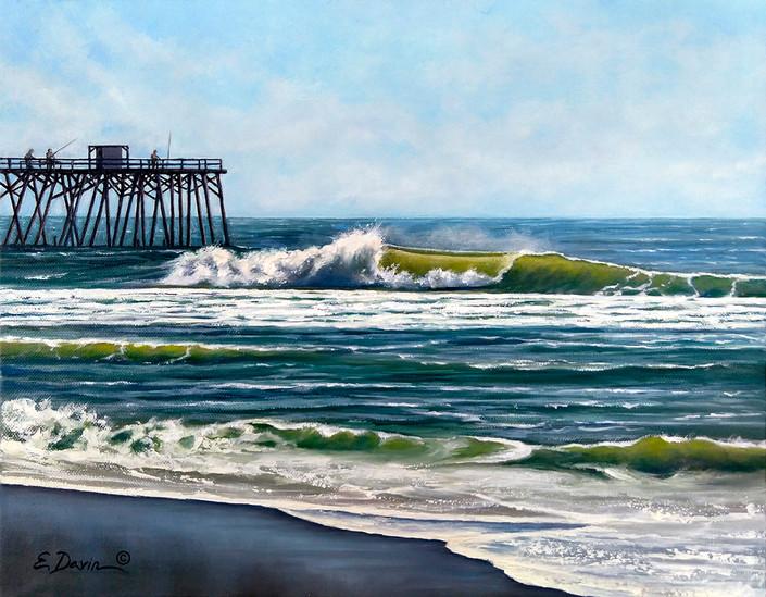 """""""The Beach Pier""""  Oil, 11 x 14, $675"""
