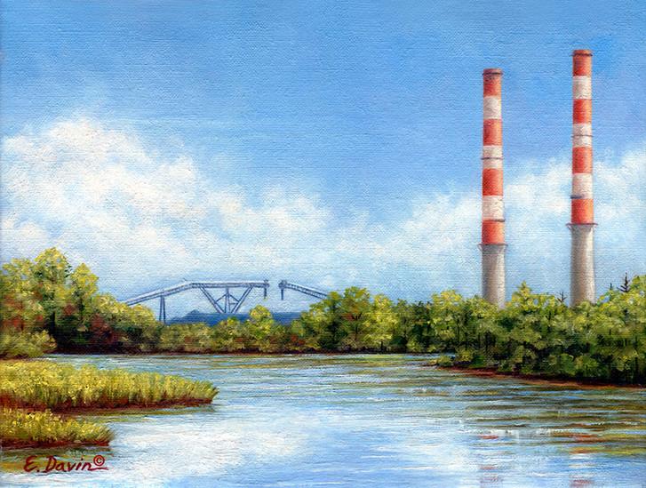 """""""Sutton Power Plant""""  Oil, 9 x 12, $450"""