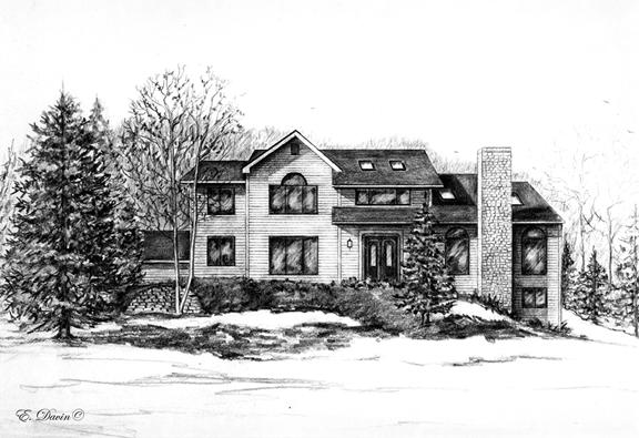 """""""Home Portrait""""  Pencil, Sold"""