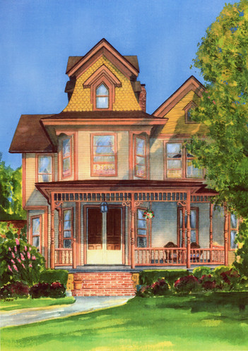 """""""Victorian Home""""  Watercolor, Sold"""