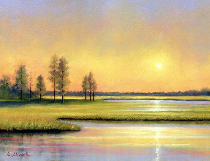 """""""Sunrise On The Marsh""""  Pastel, 9 x 13, $595 Framed"""