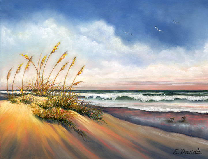 """""""Sea Oats and Sandpipers""""  Pastel, Sold"""