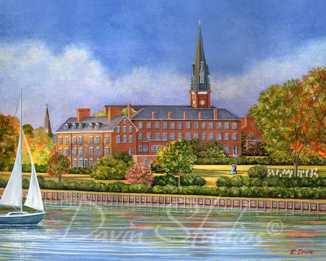 """""""St. Mary's Church, Annapolis, MD""""  Watercolor, Sold"""