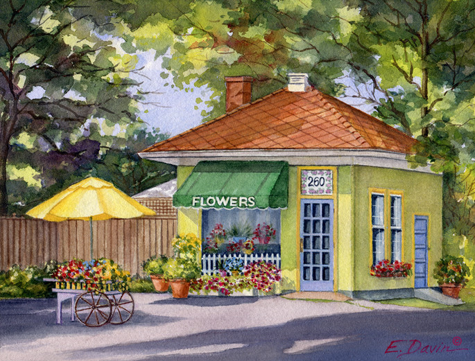"""""""The Flower Shop""""  Watercolor, 8 x 10, $395 Framed"""