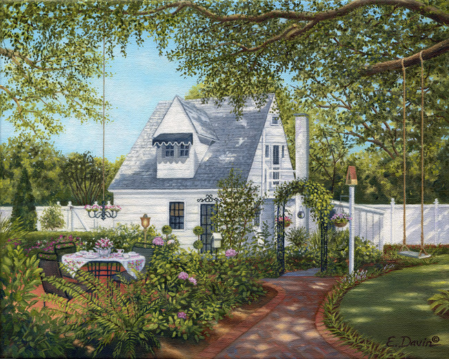 """""""Tea Time In The Garden""""  Oil, Sold"""