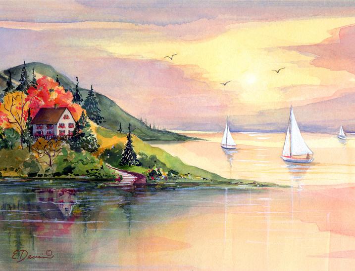 """Sailboat Cove""  Watercolor, Sold"