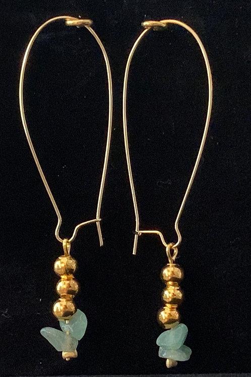 Aquamarine & Gold Kidney Earings