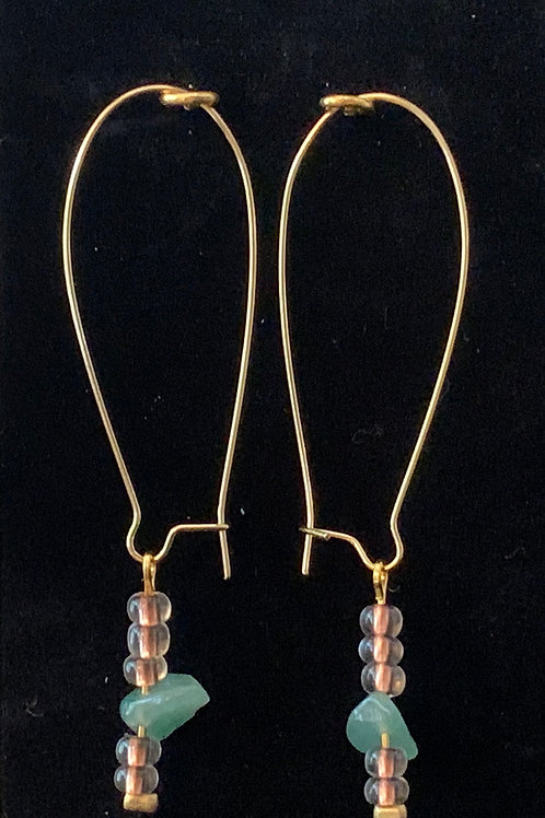 Aquamarine & Copper Kidney Earings