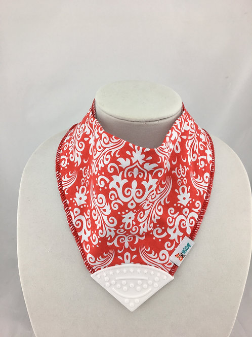 White Paisley on Red